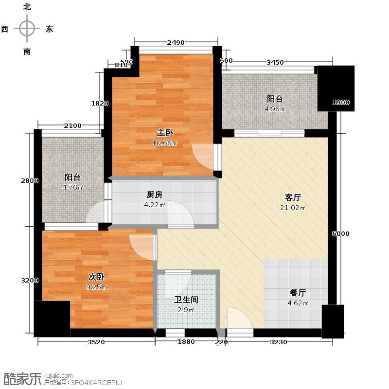龙泉天立广场75.12㎡二期B-7户型2室1厅1卫1厨