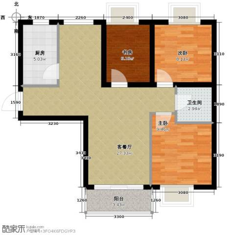 湾仔城3室1厅1卫1厨87.00㎡户型图