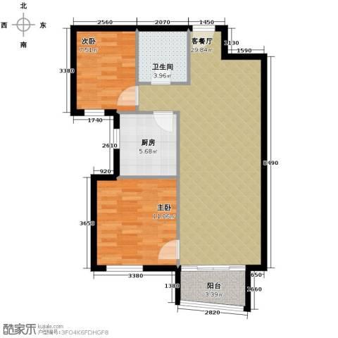 湾仔城2室1厅1卫1厨85.00㎡户型图