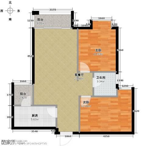 龙湖时代天街2室2厅0卫0厨75.00㎡户型图