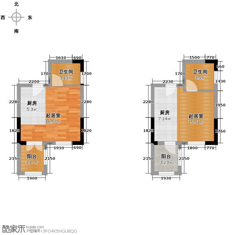 东原189134.78㎡一期7号楼4、17号房/2-11层户型1室1厅1卫