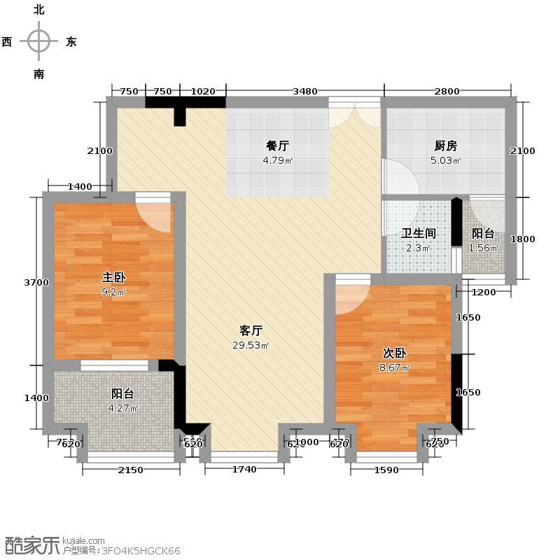 财信沙滨城市79.00㎡1单元2号房单卫户型2室2厅1卫