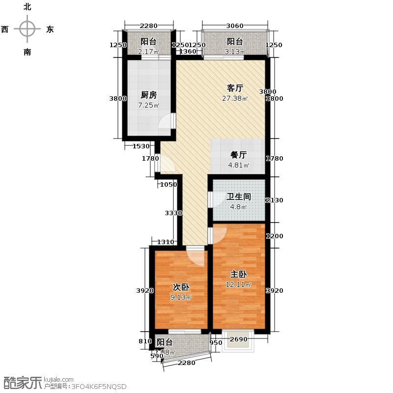 上上城青年社区二期103.32㎡三期11号楼C1户型2室1厅1卫1厨