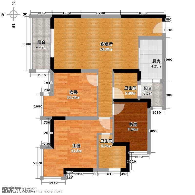东原亲亲里85.72㎡1号楼D户型3室1厅2卫1厨