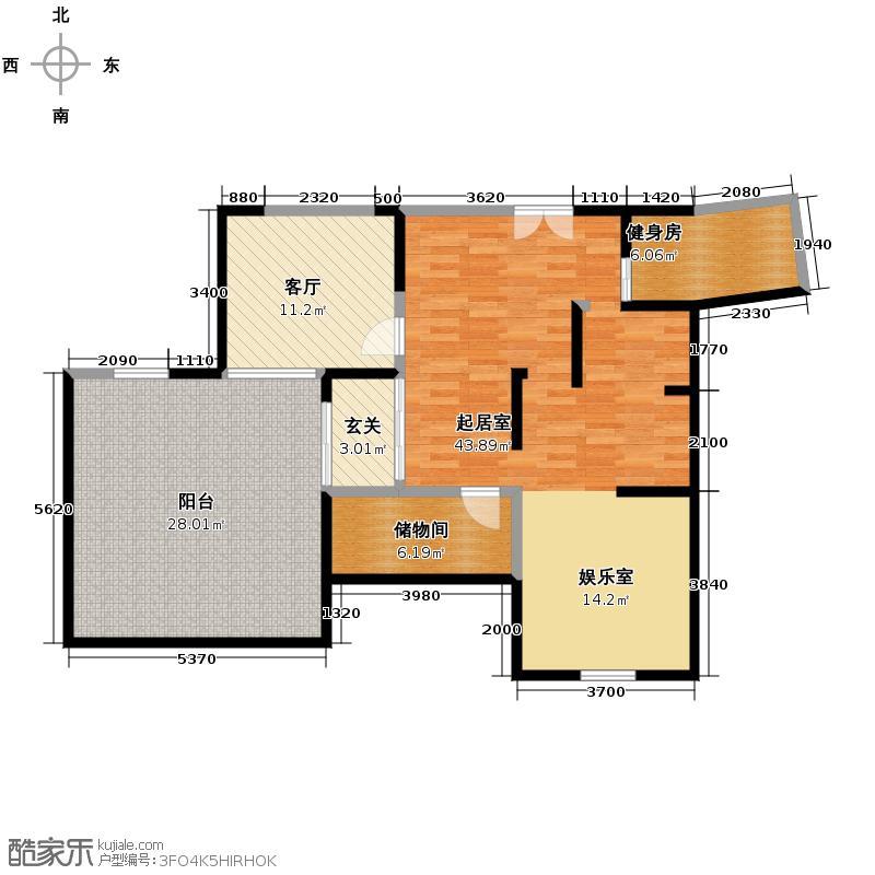东山国际新城174.04㎡E区下层户型2室3厅2卫