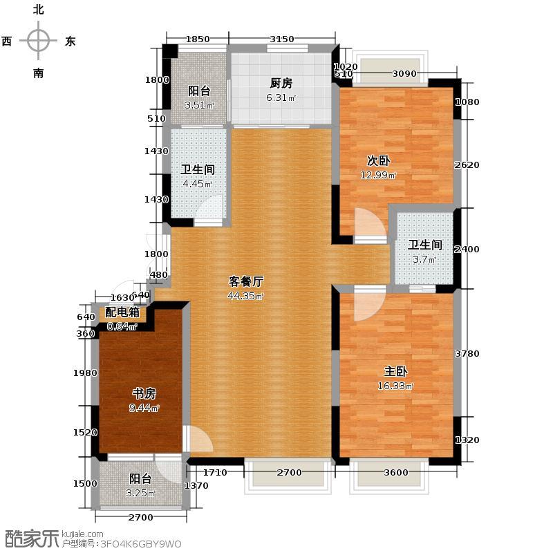 保利百合香湾130.00㎡户型3室2厅2卫