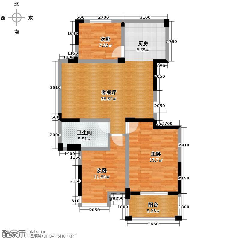 冠达豪景东苑104.80㎡D5户型3室2厅1卫
