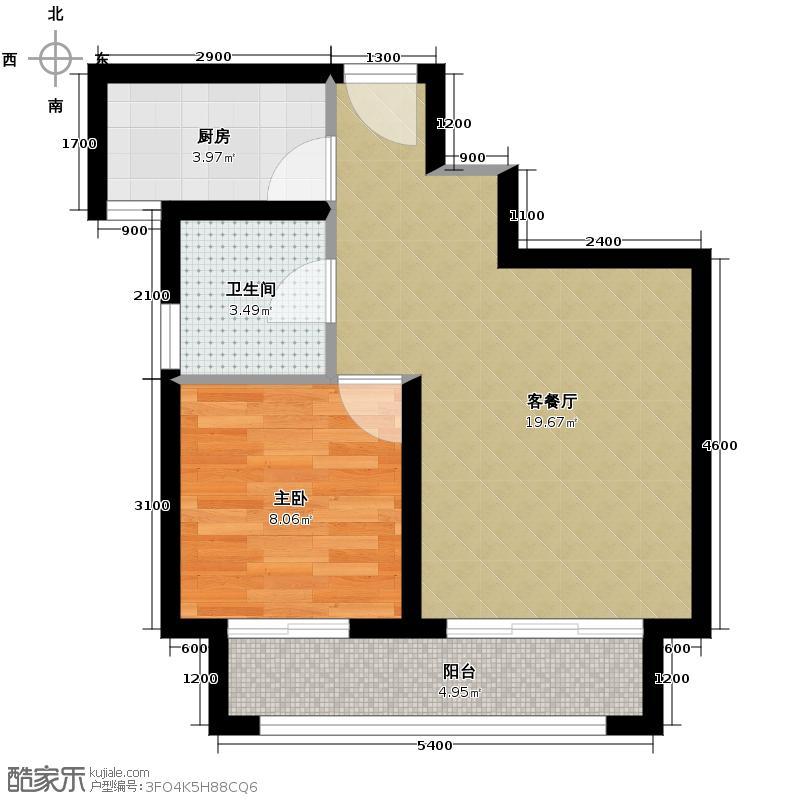 金辉苹果城42.99㎡-户型1室1厅1卫1厨
