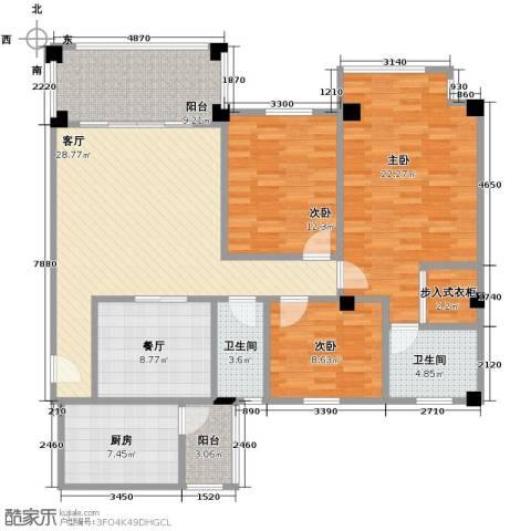南沙碧桂园3室2厅2卫1厨157.00㎡户型图