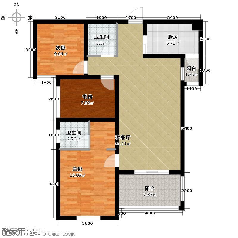 融侨城106.00㎡11号楼2单元C户型3室2厅2卫