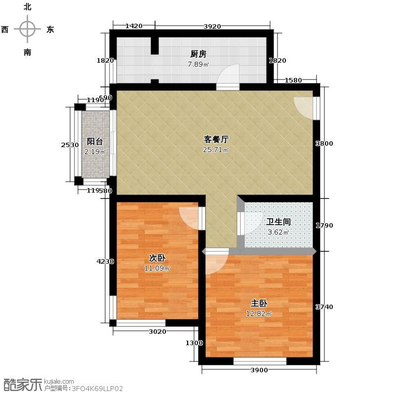 远洋一方89.45㎡36、37、38号楼B2-c户型2室1厅1卫