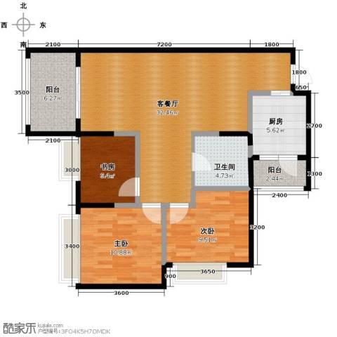 万科悦峰3室1厅1卫1厨102.00㎡户型图
