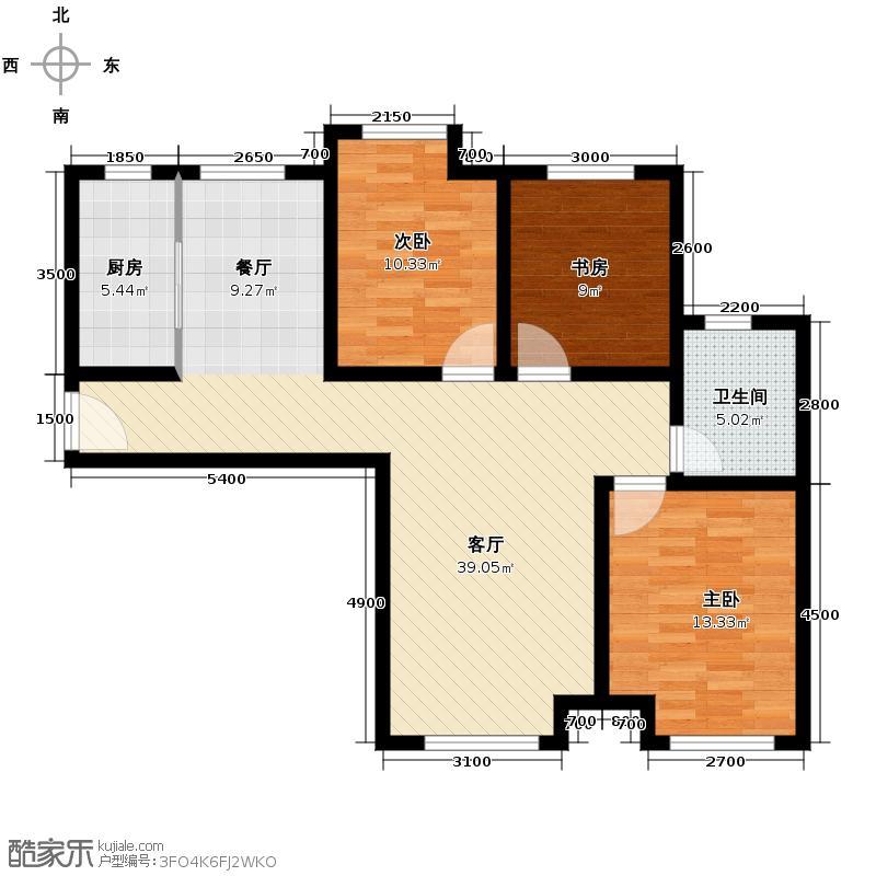 永定河孔雀城英国宫112.00㎡A-7临时户型3室2厅1卫