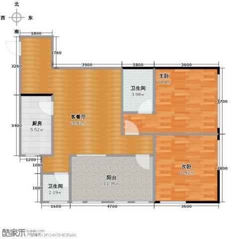 羲城蓝湾2室1厅2卫1厨83.26㎡户型图