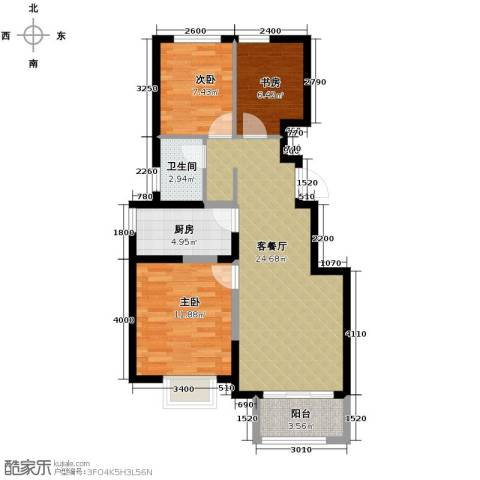 旭辉澜郡3室2厅1卫0厨91.00㎡户型图