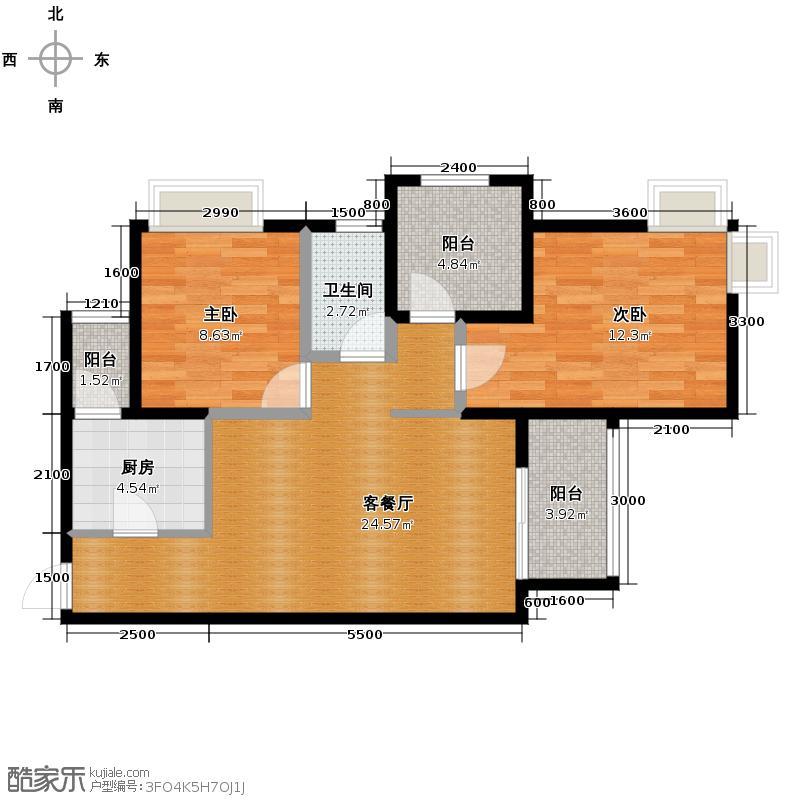 和泓四季81.04㎡景致组团5号楼5号房单卫户型2室2厅1卫
