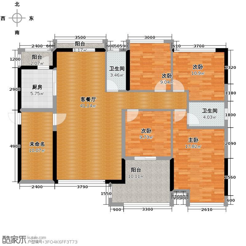 兆阳御花园144.24㎡2座B(02)单位户型4室2厅2卫