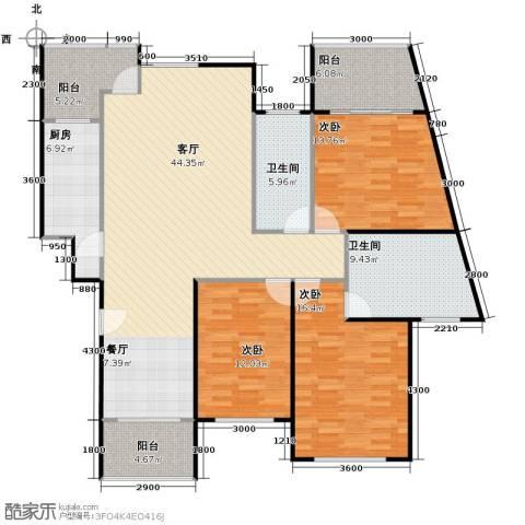 东方花城3室1厅2卫1厨129.00㎡户型图