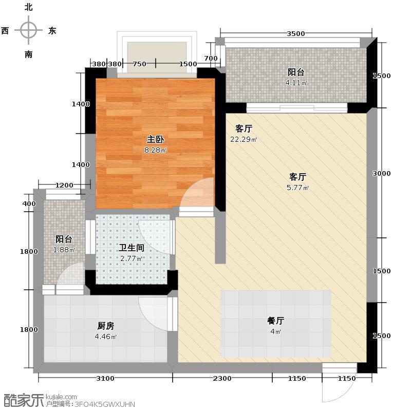 芸峰天梭派51.45㎡4号楼3/4号双阳台户型1室1厅1卫1厨