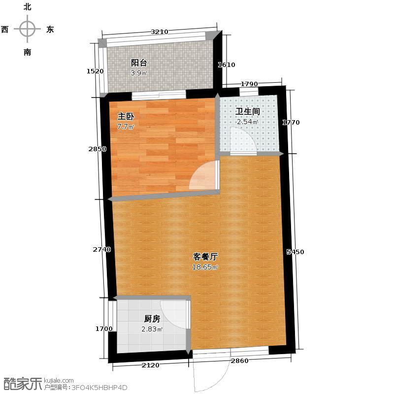兰蒂斯城52.51㎡D6户型1室2厅1卫