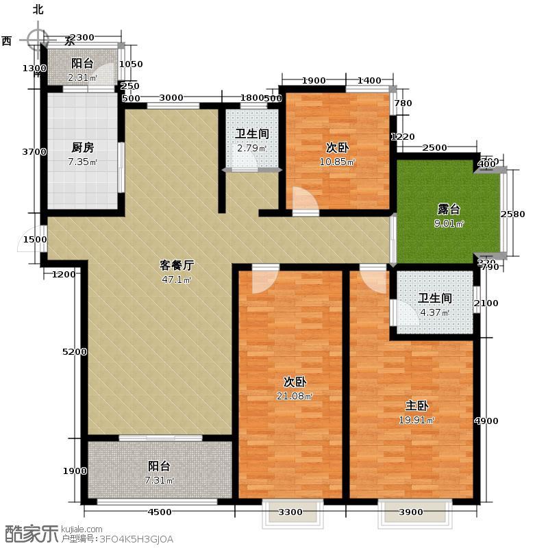 融侨城157.00㎡11号楼3单元B四室户型4室2厅2卫