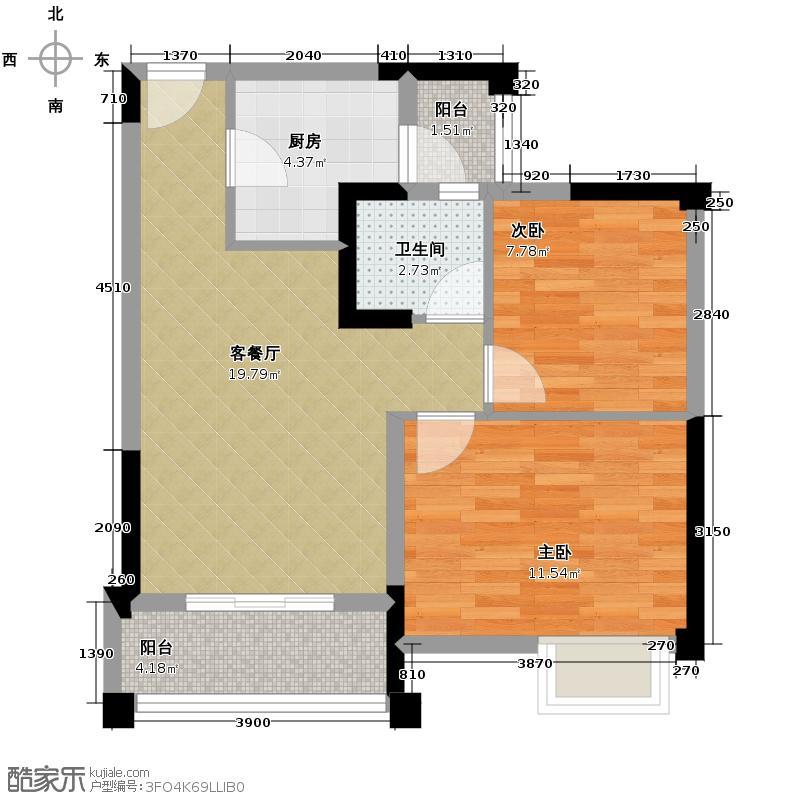 东原D7区55.86㎡2号楼D户型2室2厅1卫