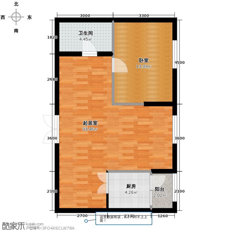 柏悦星城63.86㎡5#1单元5门1室户型1室2厅1卫