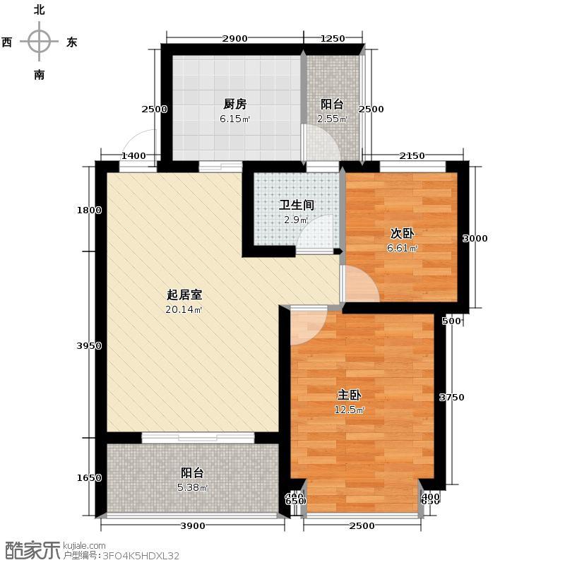 金鹏两江时光56.90㎡3、12幢C9标准层户型2室1卫1厨