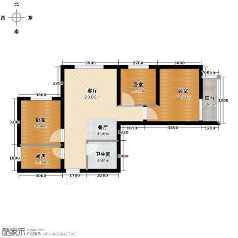 经发新北居3室2厅1卫0厨83.00㎡户型图
