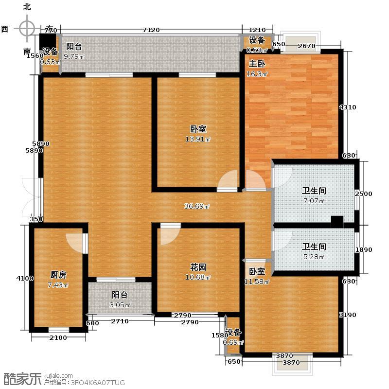 宁江大院141.03㎡一期标准层A3户型10室
