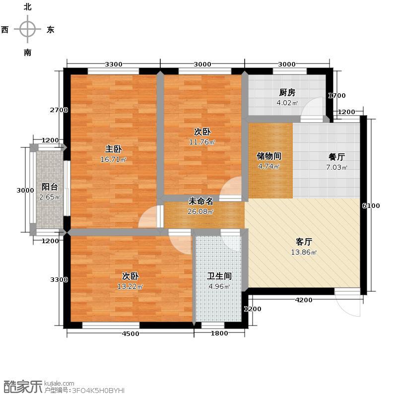 景泰花苑112.75㎡户型3室1卫1厨