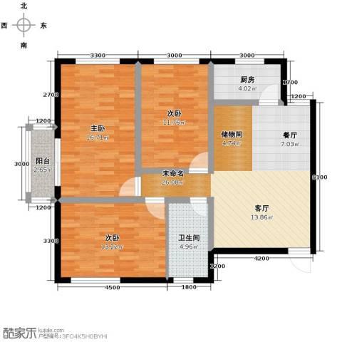 景泰花苑3室0厅1卫1厨113.00㎡户型图
