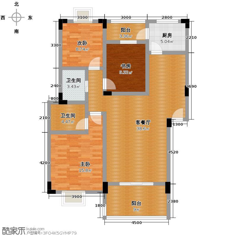 艺锦湾116.00㎡B户型3室1厅2卫1厨