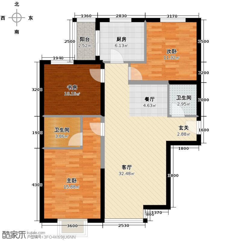 星河185124.91㎡B楼C2户型3室1厅2卫1厨