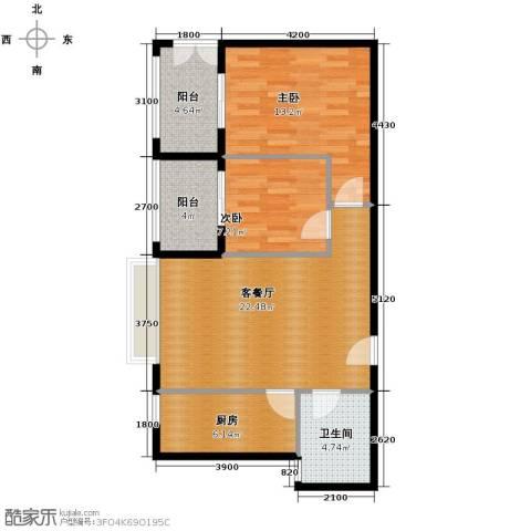 �口金利屋2室1厅1卫1厨86.00㎡户型图