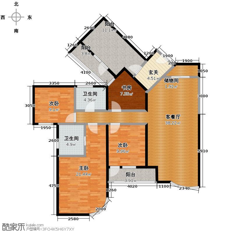 仁恒海河广场135.39㎡D-户型10室