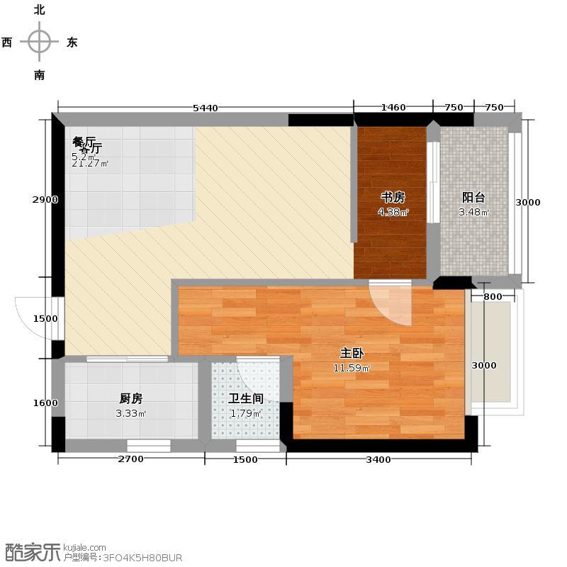 铂宫Ⅱ中山庭54.97㎡C4户型1室1厅1卫1厨