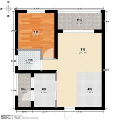 鼎盛时空1室1厅1卫1厨61.00㎡户型图
