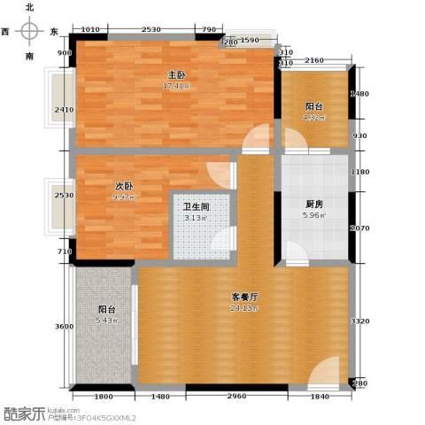 九鼎名都2室1厅1卫1厨100.00㎡户型图