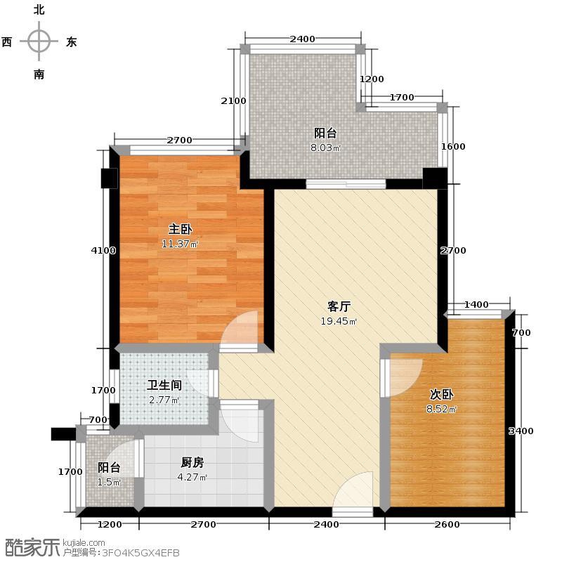 华宇楠苑66.26㎡14栋3-10层2010年11月在售户型2室1厅1卫1厨