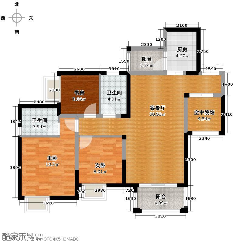 保利可爱岛88.00㎡1、2、4、5号楼户型3室1厅2卫1厨