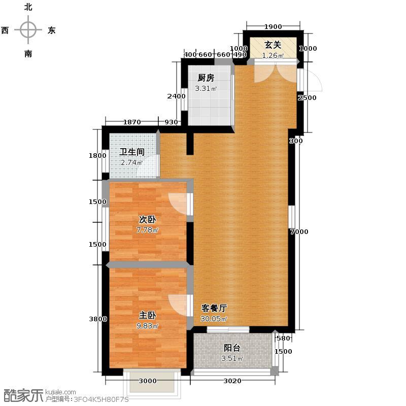 香缤国际城87.31㎡8#楼D户型2室2厅1卫