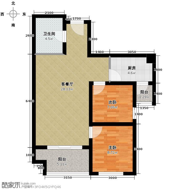 盛龙广场87.42㎡5号楼B1户型2室2厅1卫
