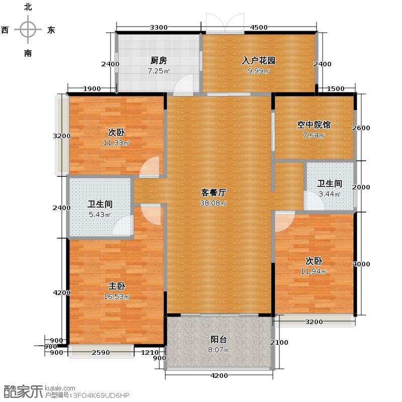 通用时代国际社区139.00㎡GC2户型3室2厅2卫