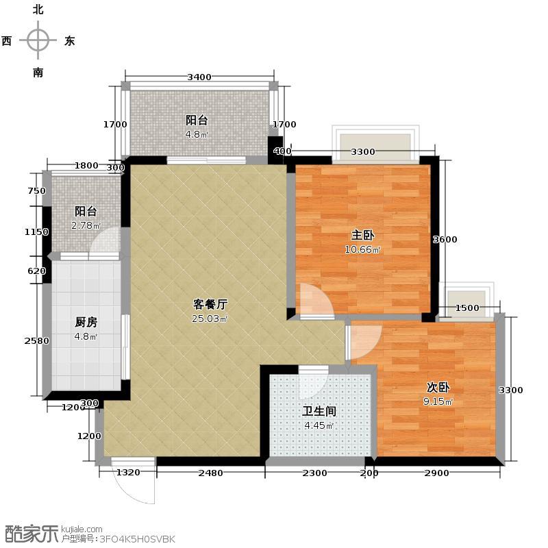 水韵华府78.00㎡15号楼标准层K4户型2室1厅1卫1厨