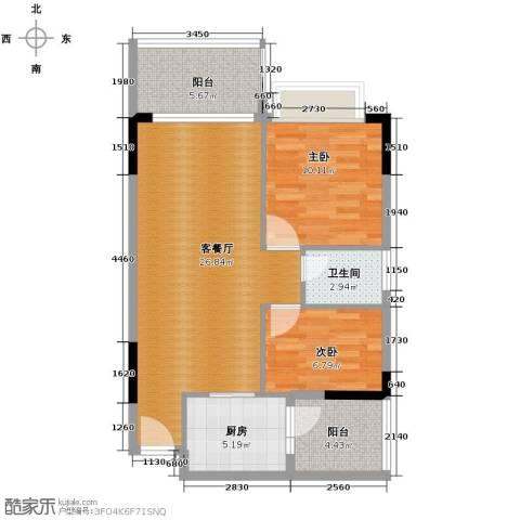 地王广场2室1厅1卫0厨87.00㎡户型图