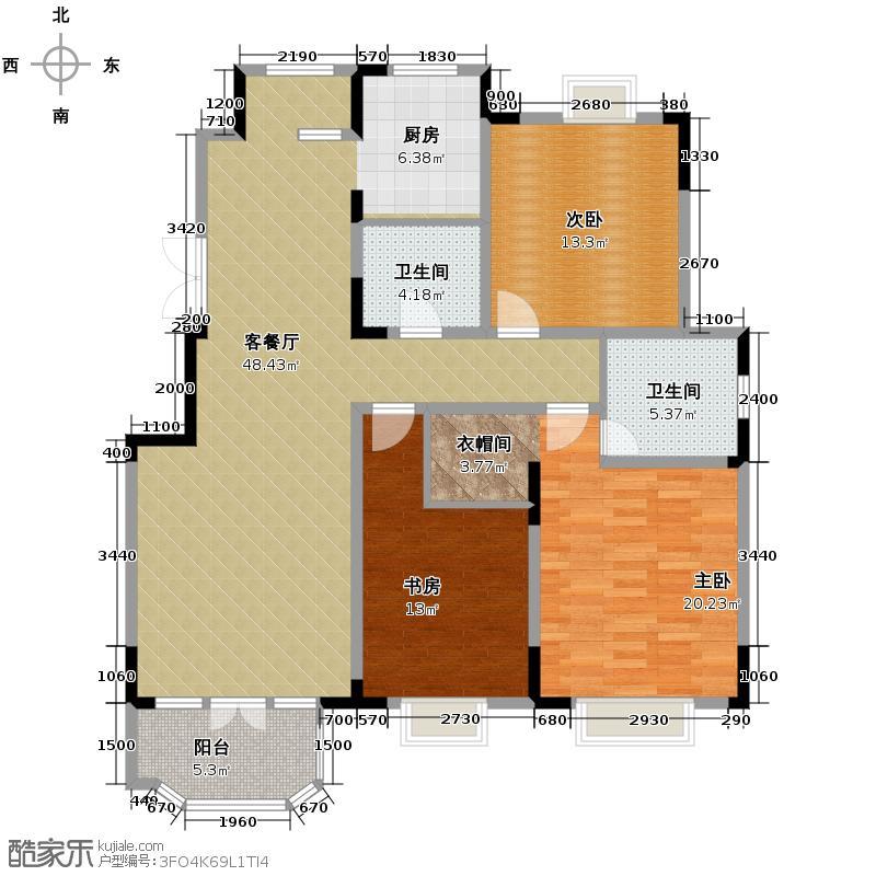 路劲太阳城143.00㎡洋房C标准层户型3室2厅2卫