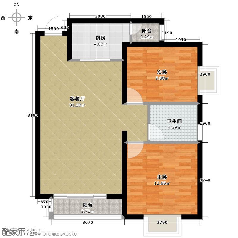 宫园壹号86.39㎡F4户型2室2厅1卫