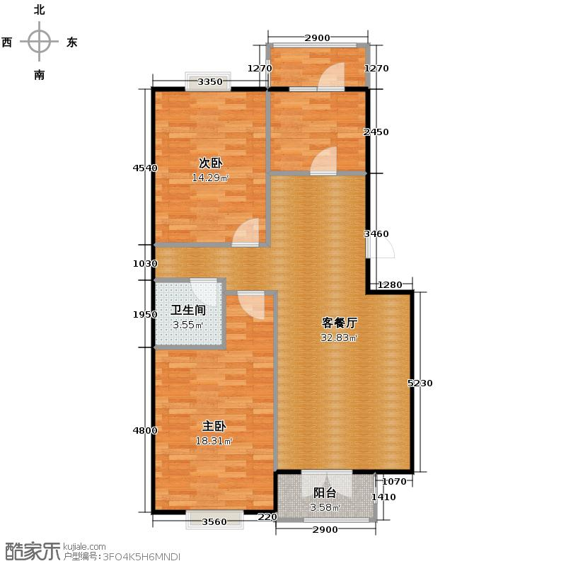 丽江花园98.00㎡G户型2室2厅1卫