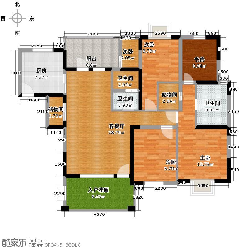东山国际新城170.00㎡C区B2型双卫户型4室2厅2卫